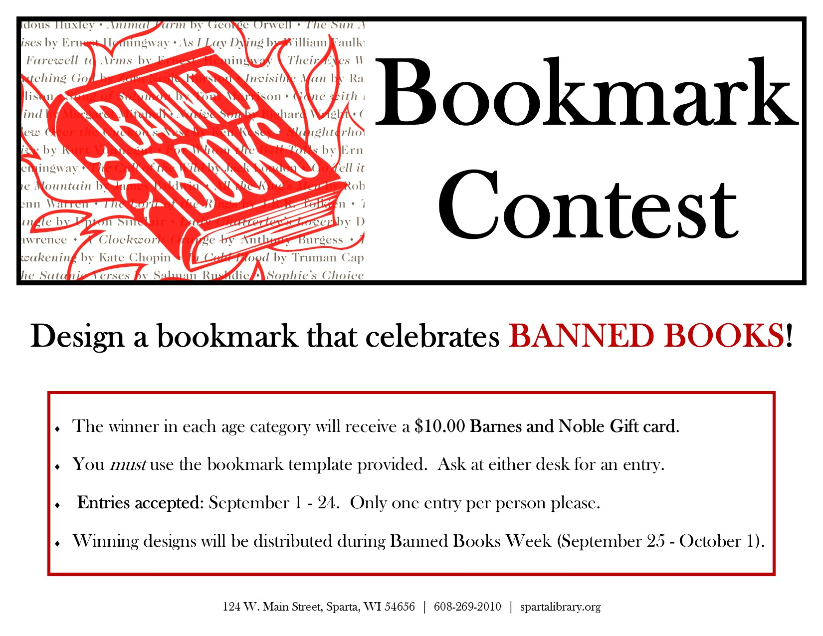 Banned Books Bookmark Contest 2016