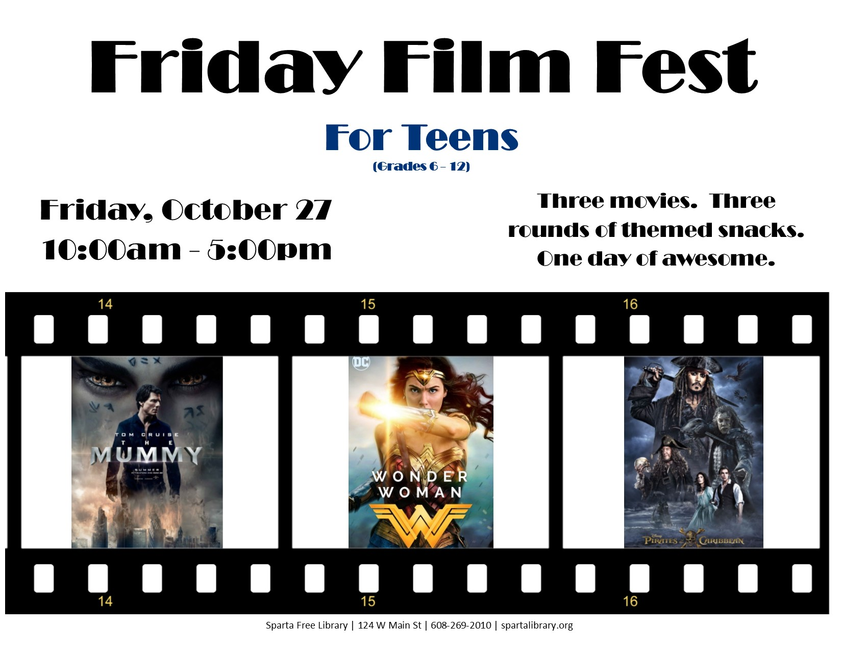Friday Film Fest for Teens @ Sparta Free Library | Sparta | Wisconsin | United States