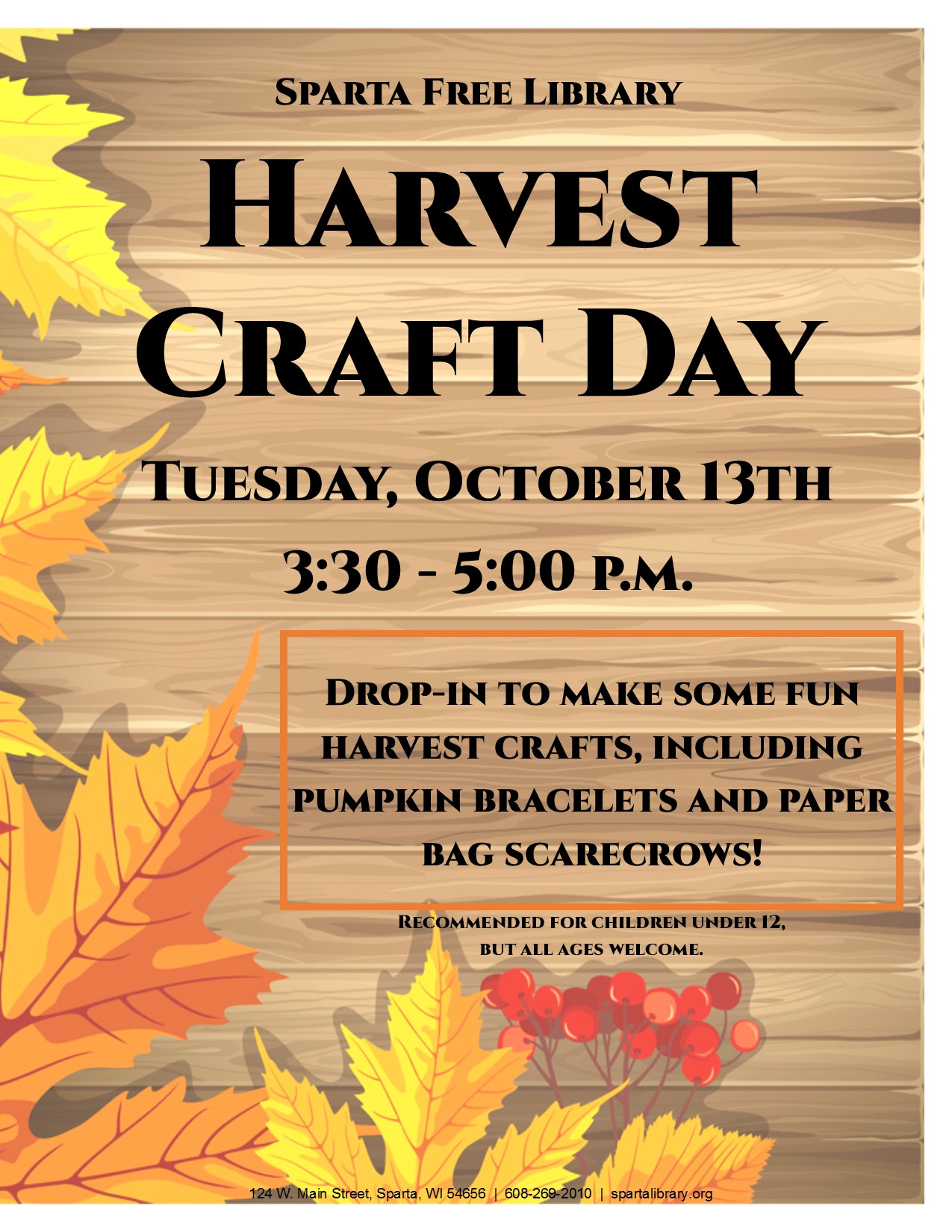 Harvest Craft Day @ Sparta Free Library | Sparta | Wisconsin | United States