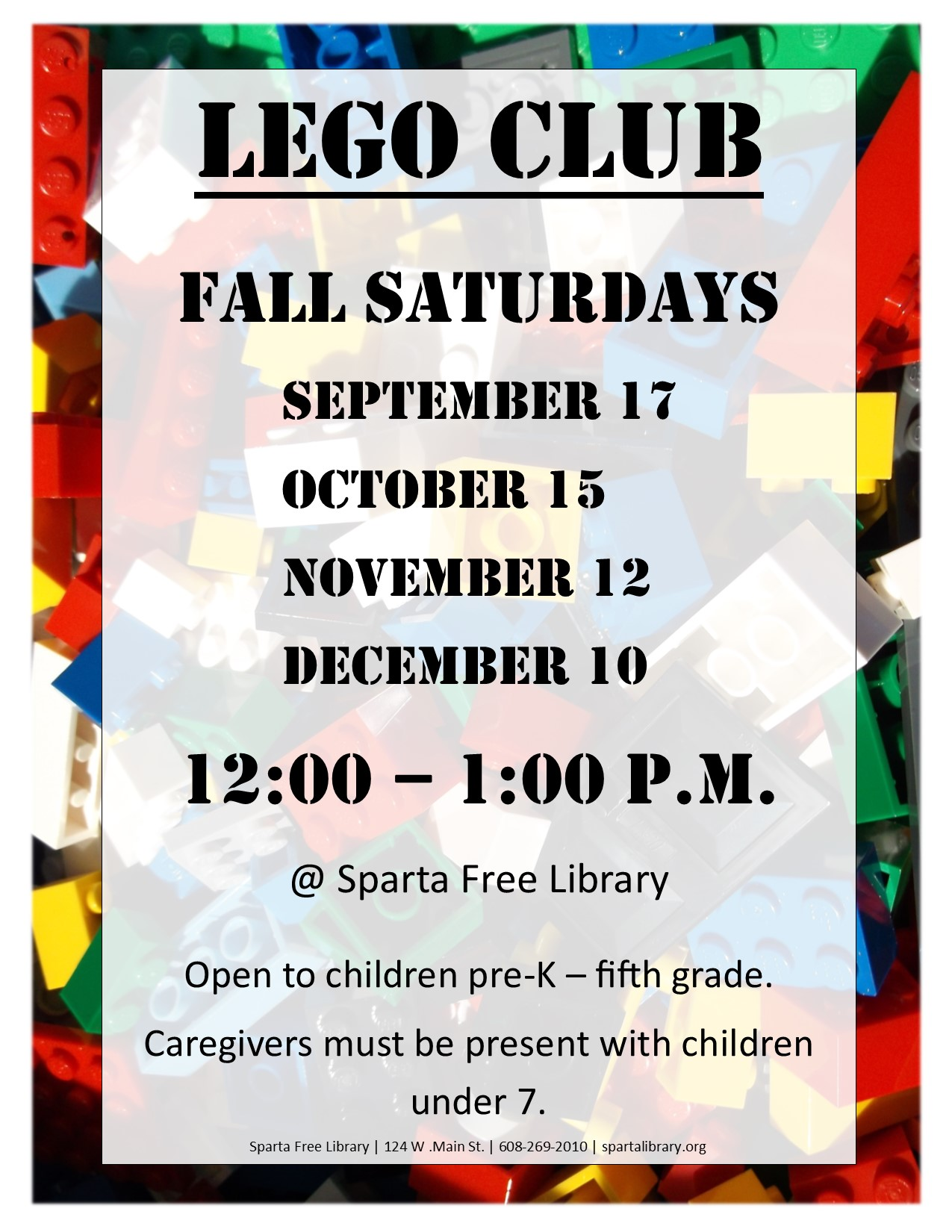 Lego Club Poster Fall 2016 All Dates