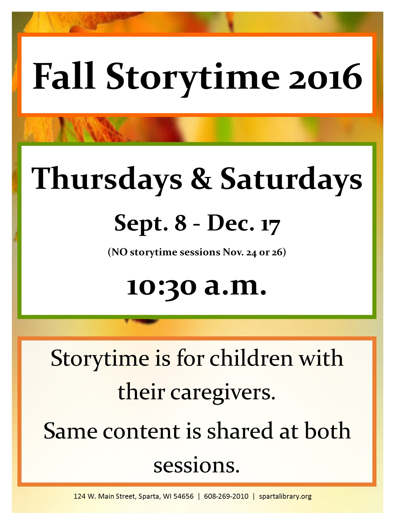 Fall Storytime 2016 Poster
