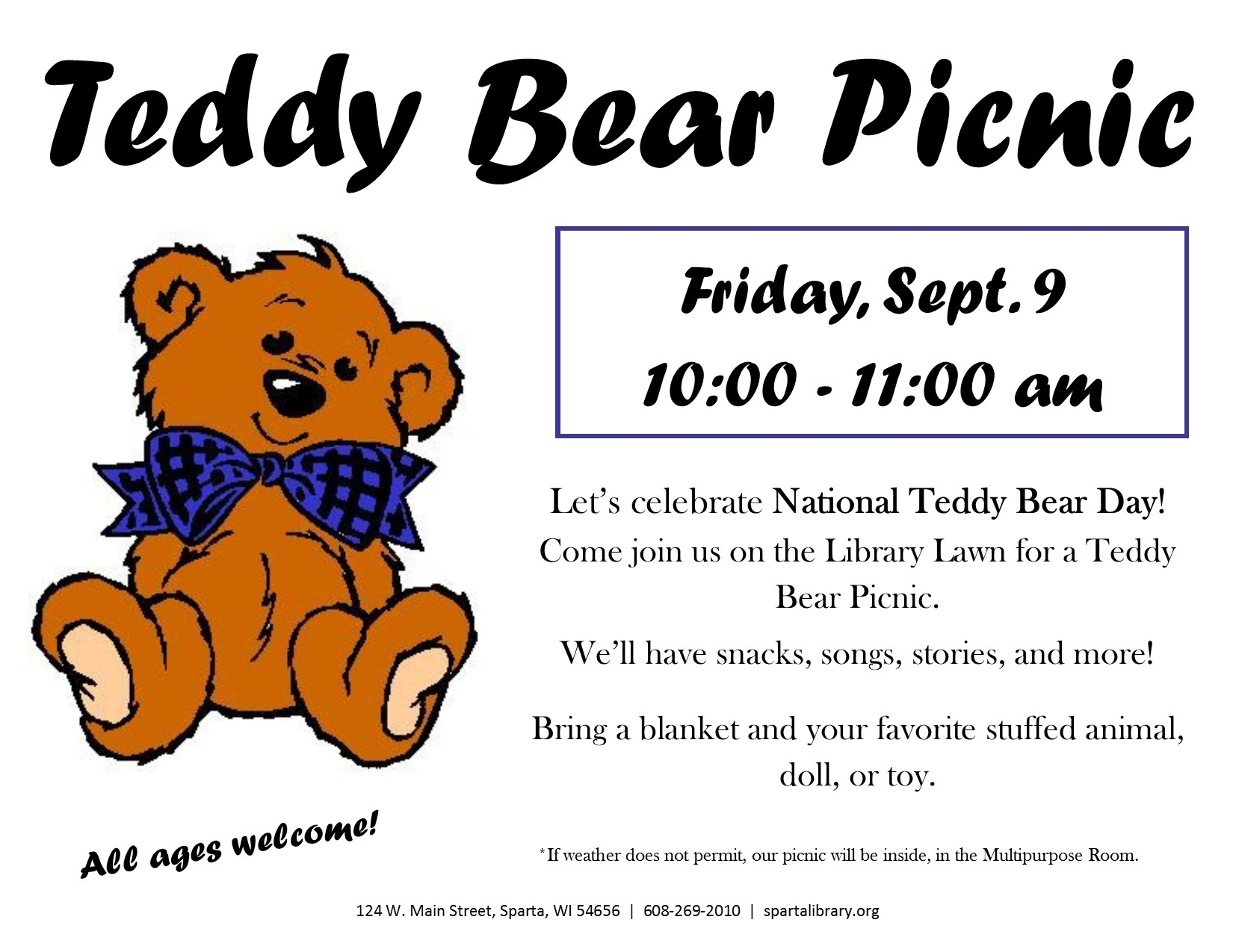 Teddy Bear Picnic @ Sparta Free Library | Sparta | Wisconsin | United States