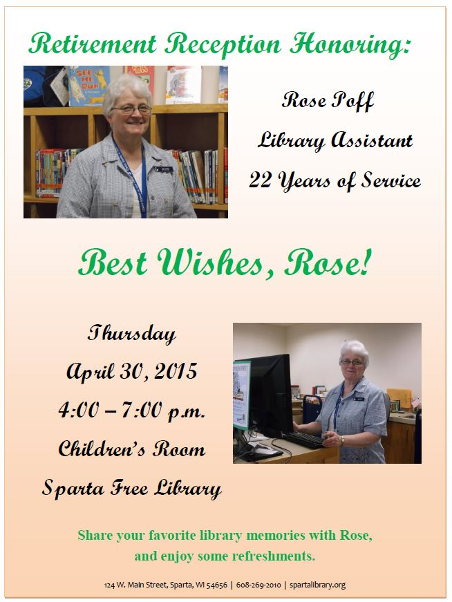Retirement Reception for Rose @ Sparta Free Library | Sparta | Wisconsin | United States