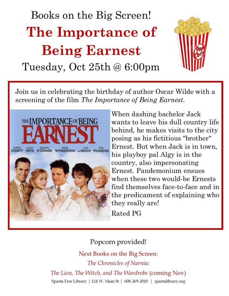 Books on the Big Screen: The Importance of Being Earnest