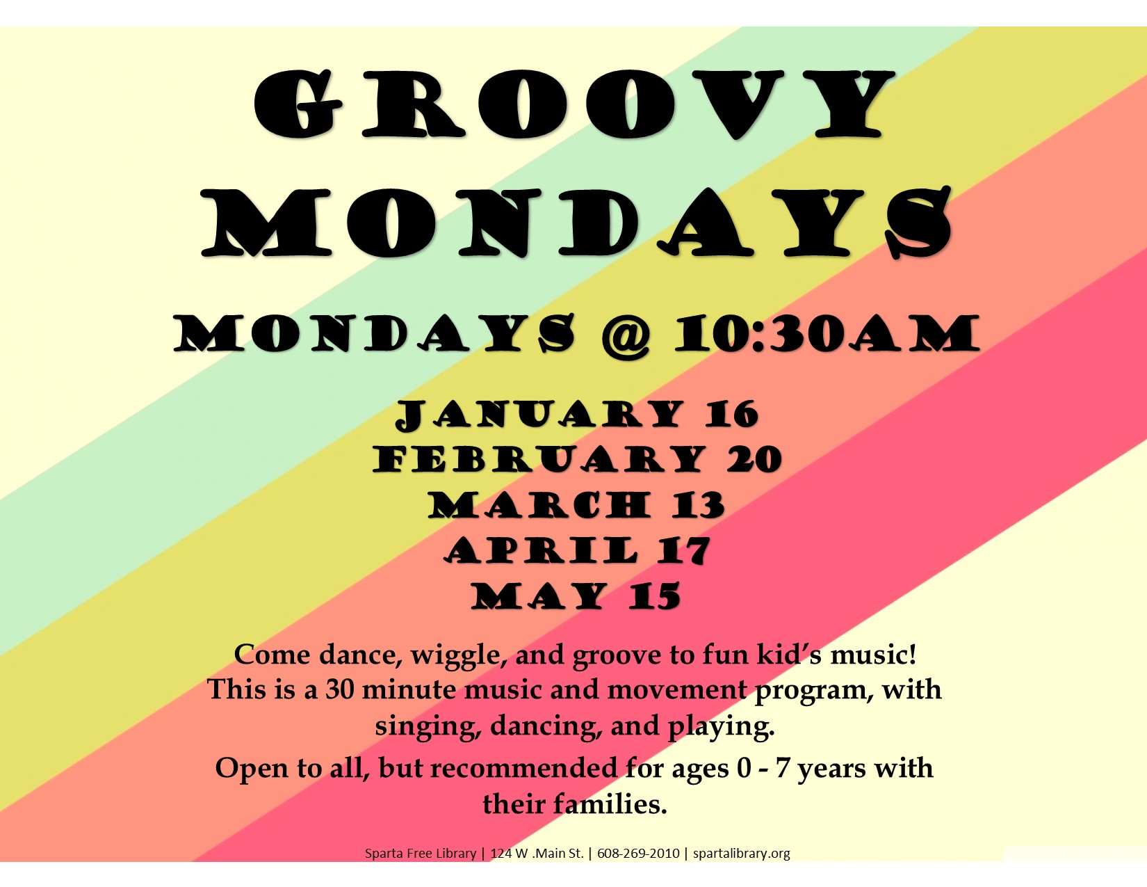 Groovy Mondays Poster Spring 2017