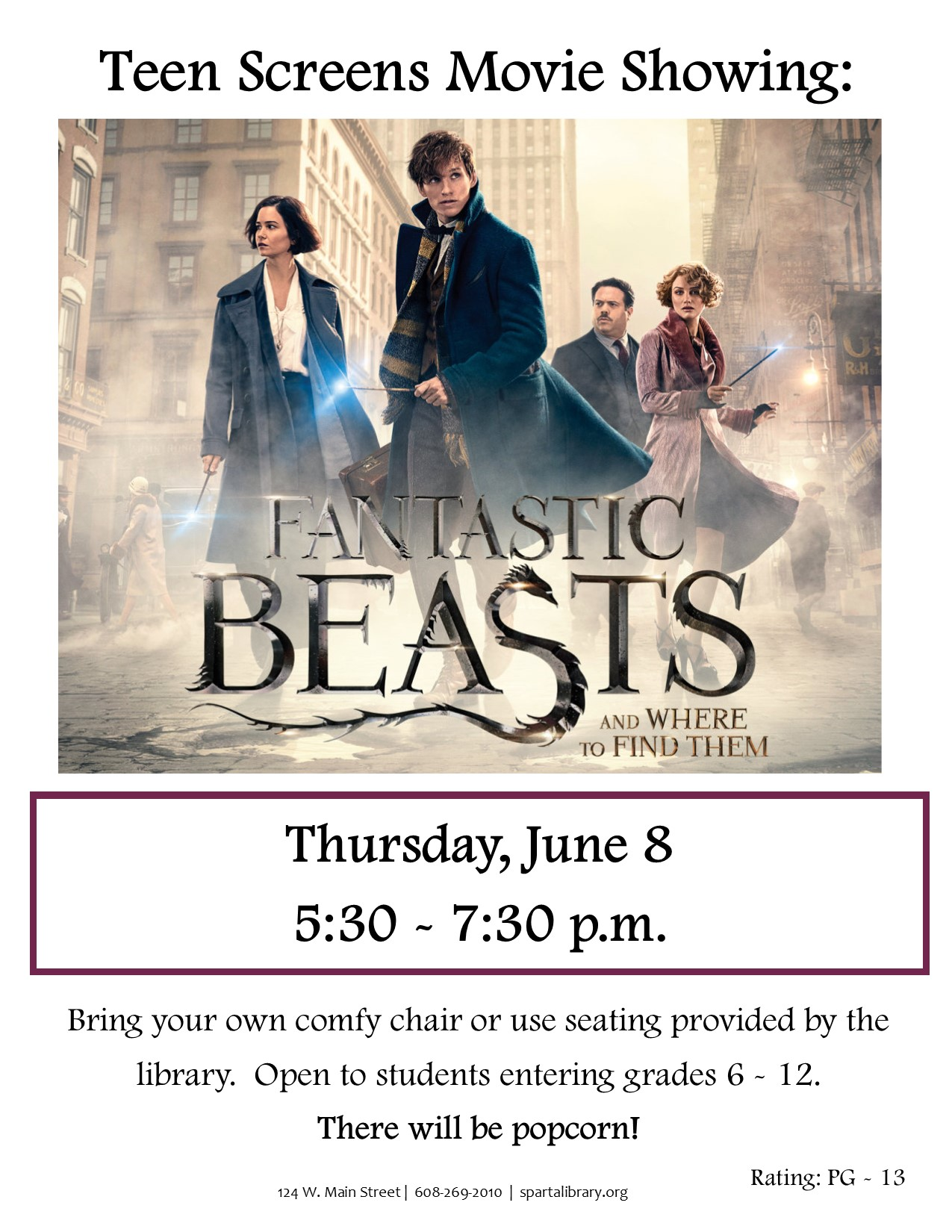 Teen Screens: Fantastic Beasts @ Sparta Free Library | Sparta | Wisconsin | United States