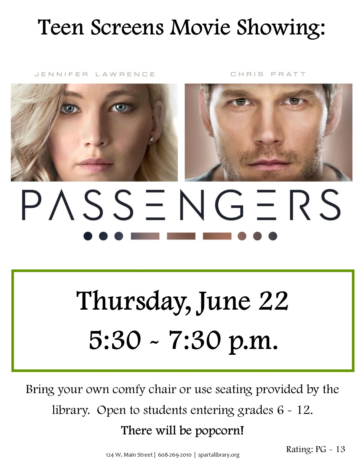 Teen Screens: Passengers @ Sparta Free Library | Sparta | Wisconsin | United States
