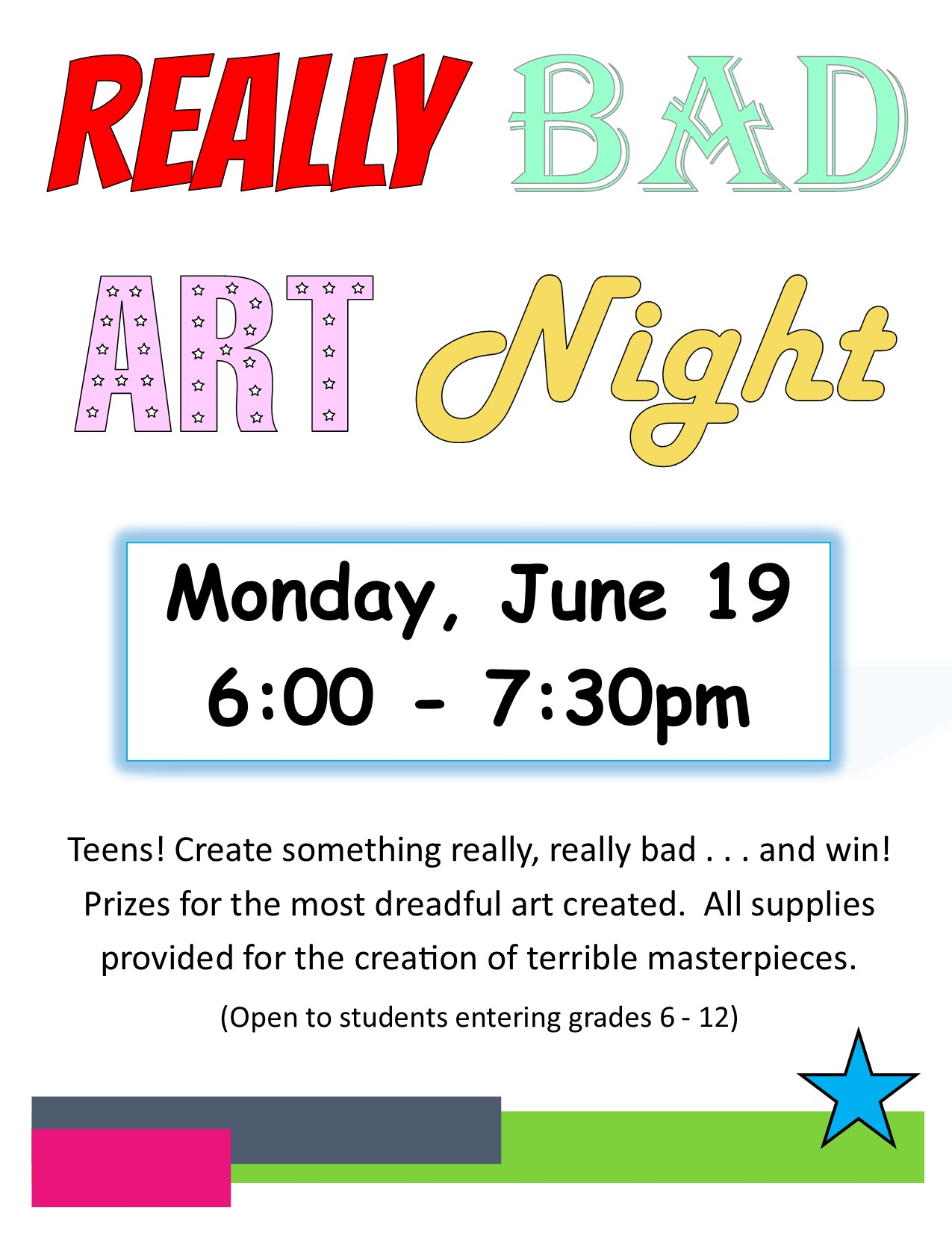 Really Bad Art Night Poster - Summer 2017