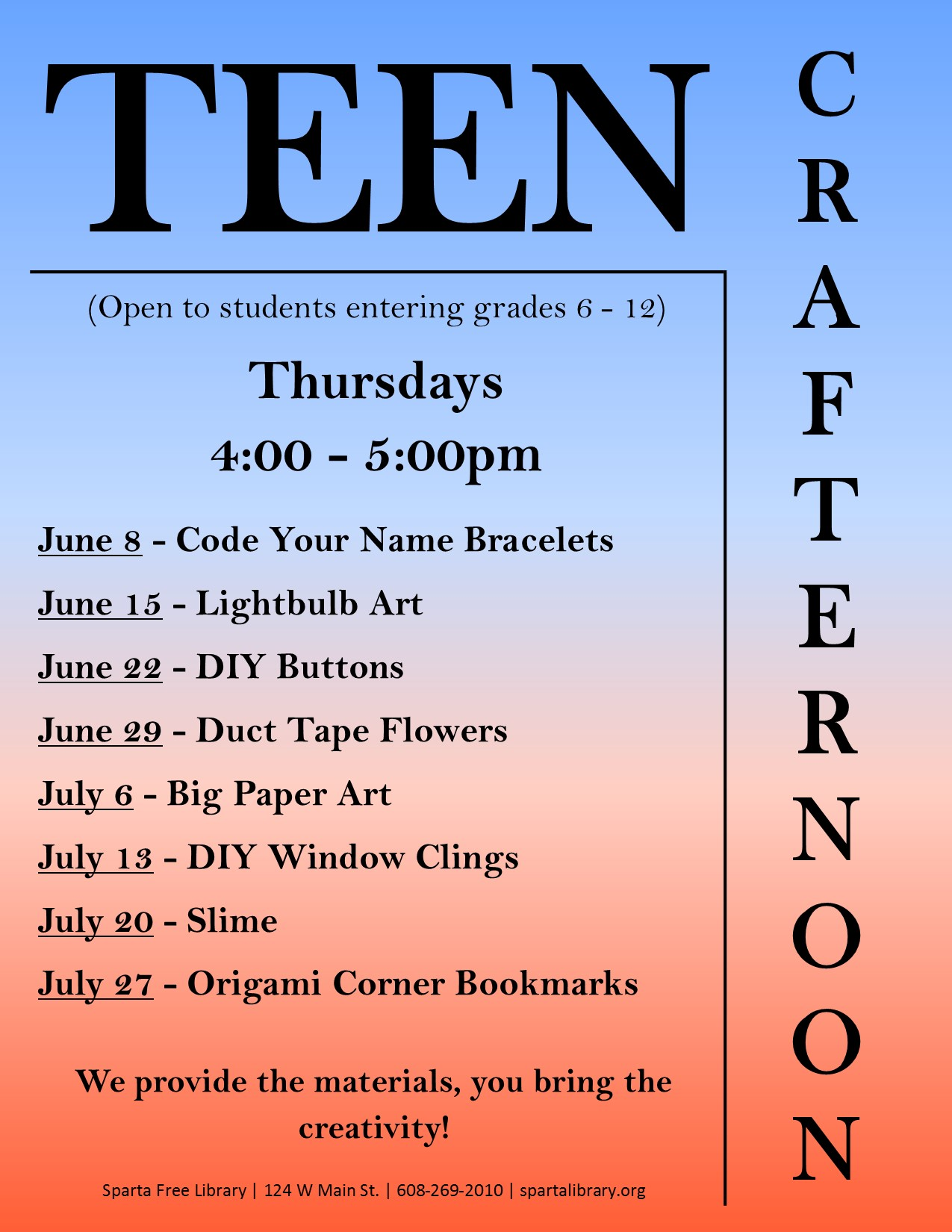 Teen Crafternoon @ Sparta Free Library | Sparta | Wisconsin | United States