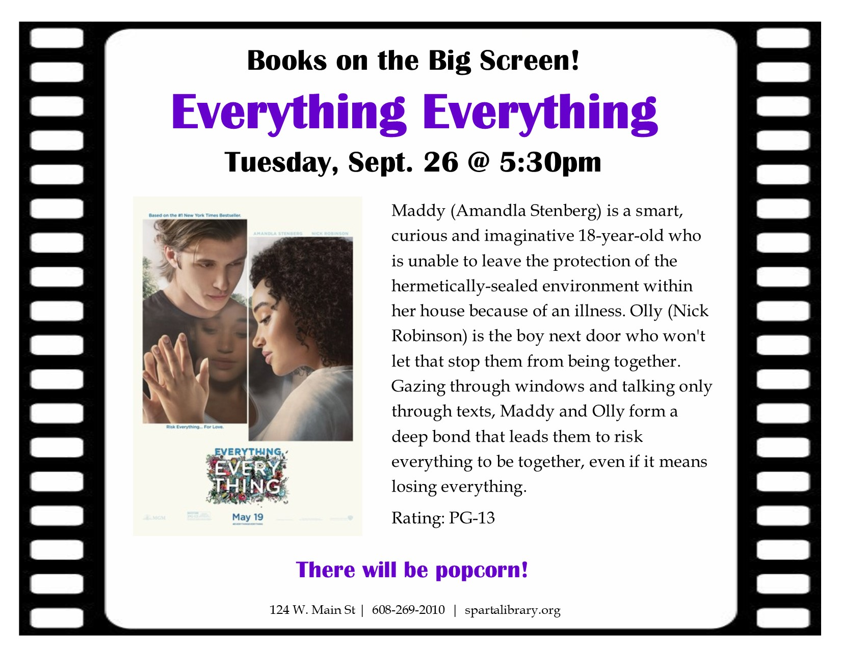 Books on the Big Screen: Everything Everything @ Sparta Free Library | Sparta | Wisconsin | United States