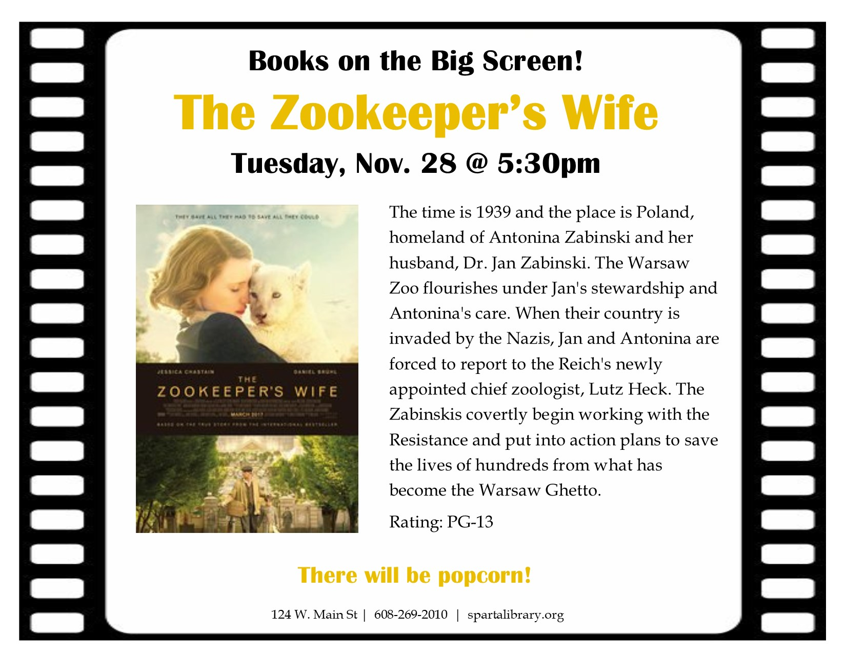 Books on the Big Screen: The Zookeeper's Wife @ Sparta Free Library | Sparta | Wisconsin | United States