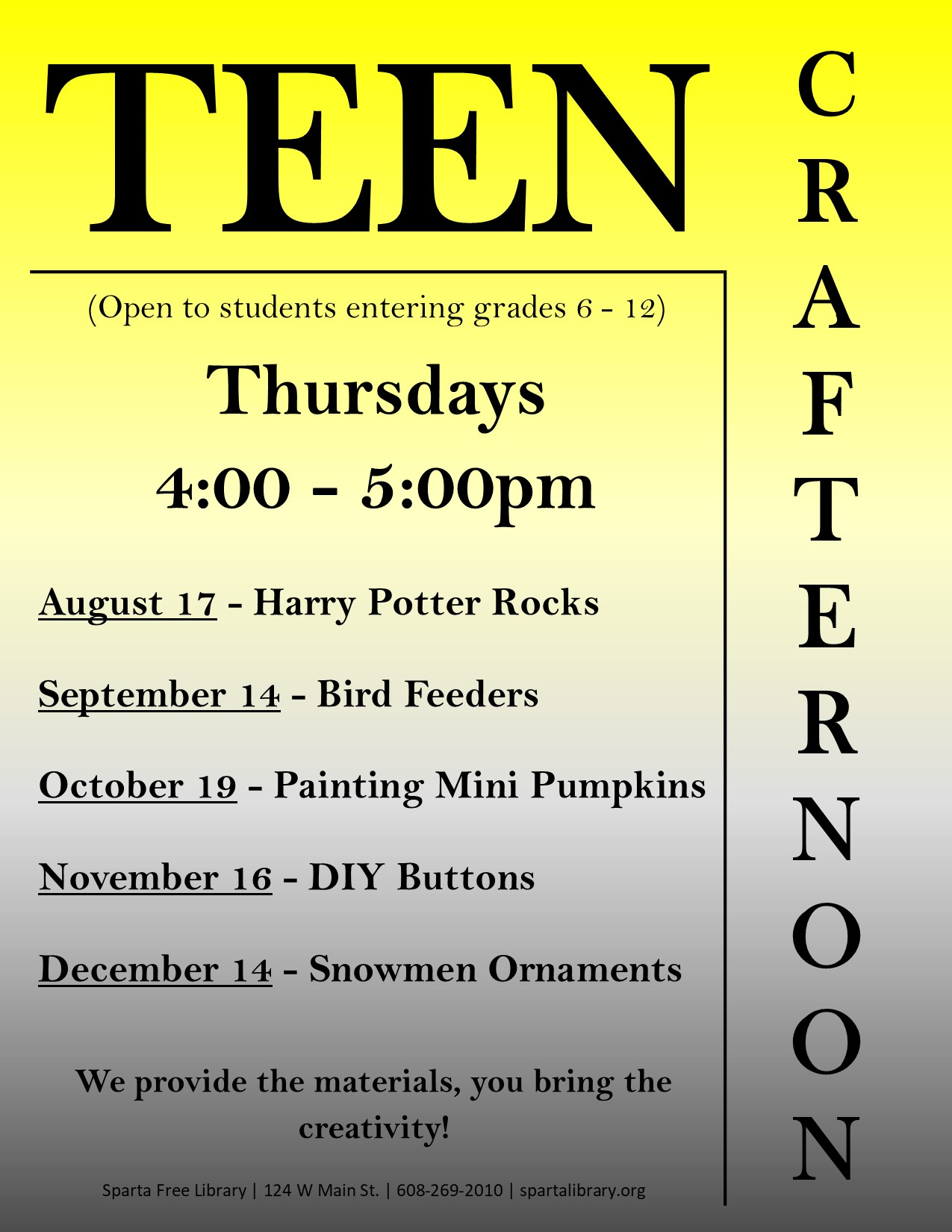 Teen Crafternoon Poster - Fall 2017