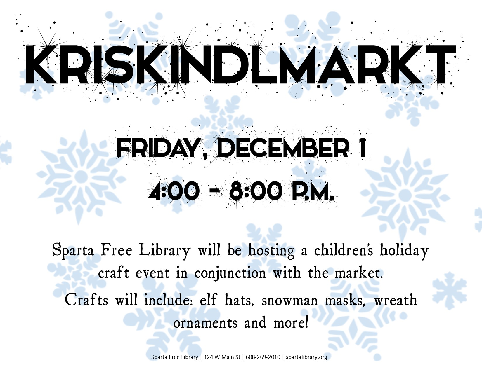 Kriskindlmarkt Craft Day @ Sparta Free Library | Sparta | Wisconsin | United States