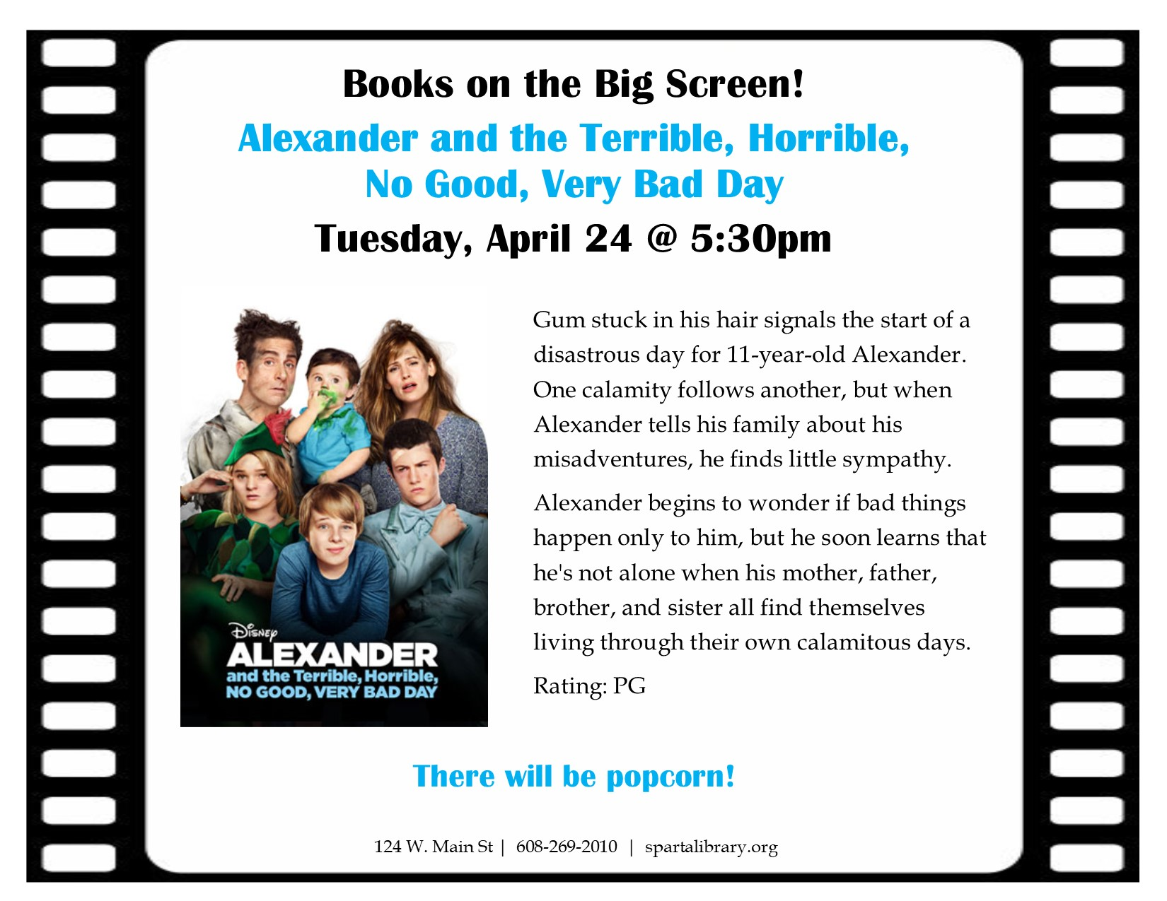 Books on the Big Screen: Alexander and the Terrible, Horrible, No Good, Very Bad Day @ Sparta Free Library | Sparta | Wisconsin | United States