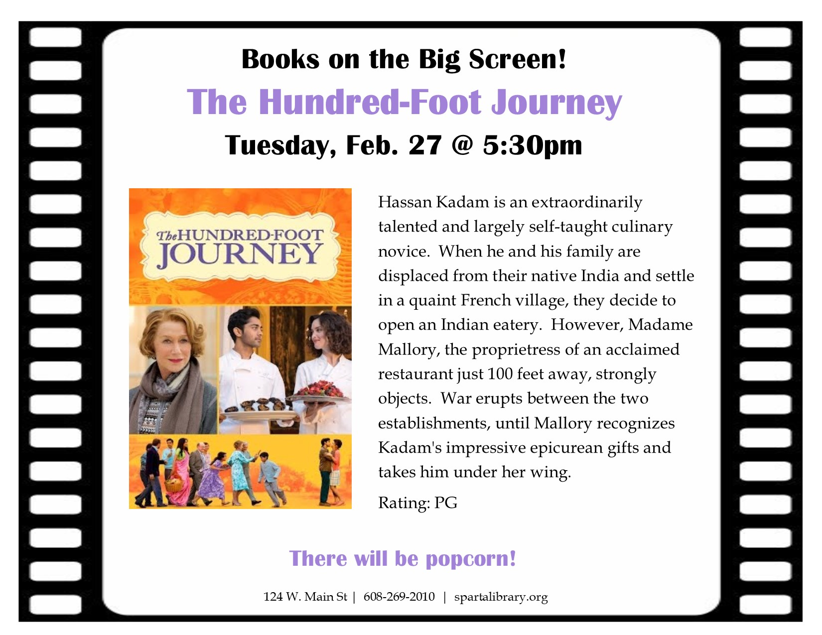 Books on the Big Screen: The Hundred-Foot Journey @ Sparta Free Library | Sparta | Wisconsin | United States