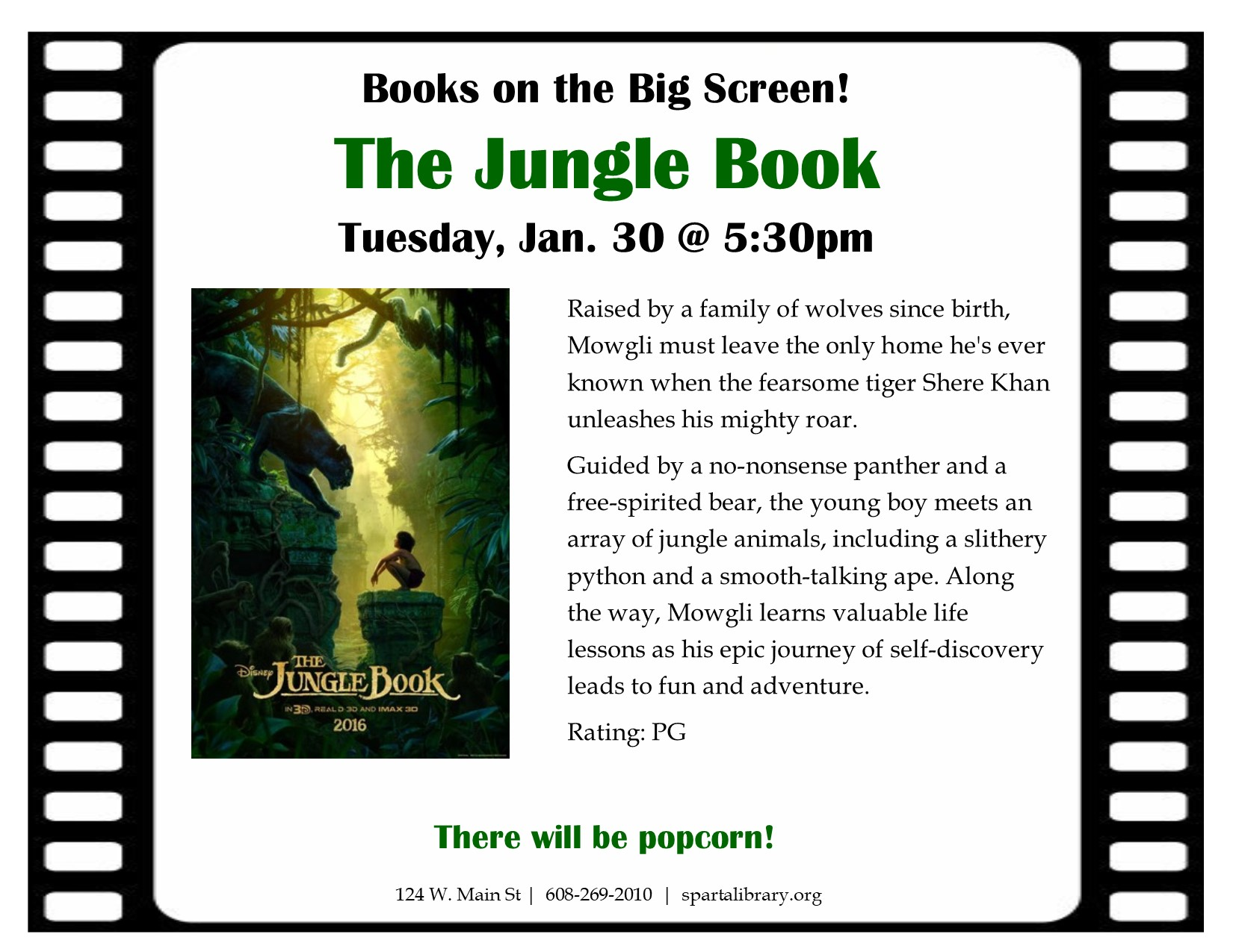 Books on the Big Screen: The Jungle Book @ Sparta Free Library | Sparta | Wisconsin | United States