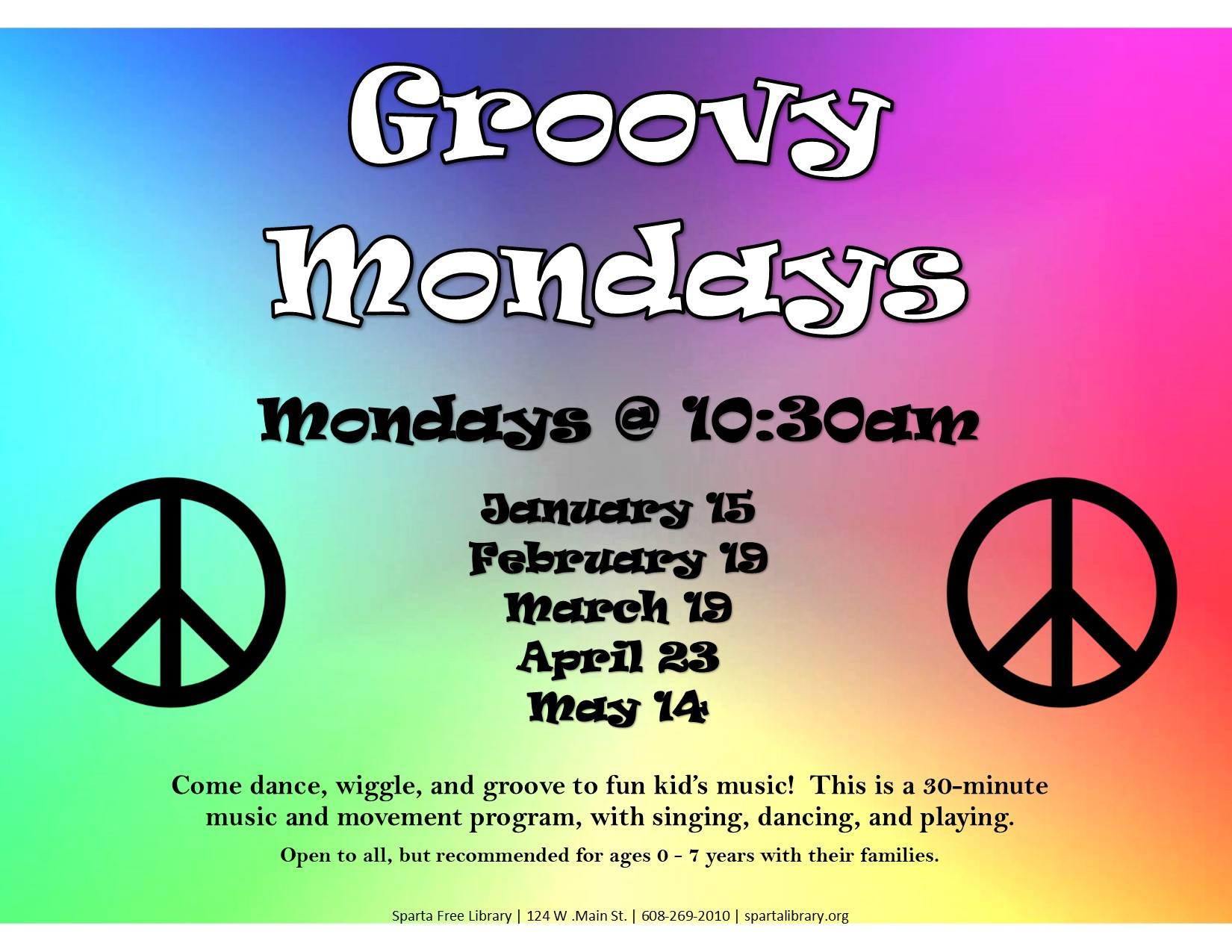 Groovy Mondays Poster Spring 2018