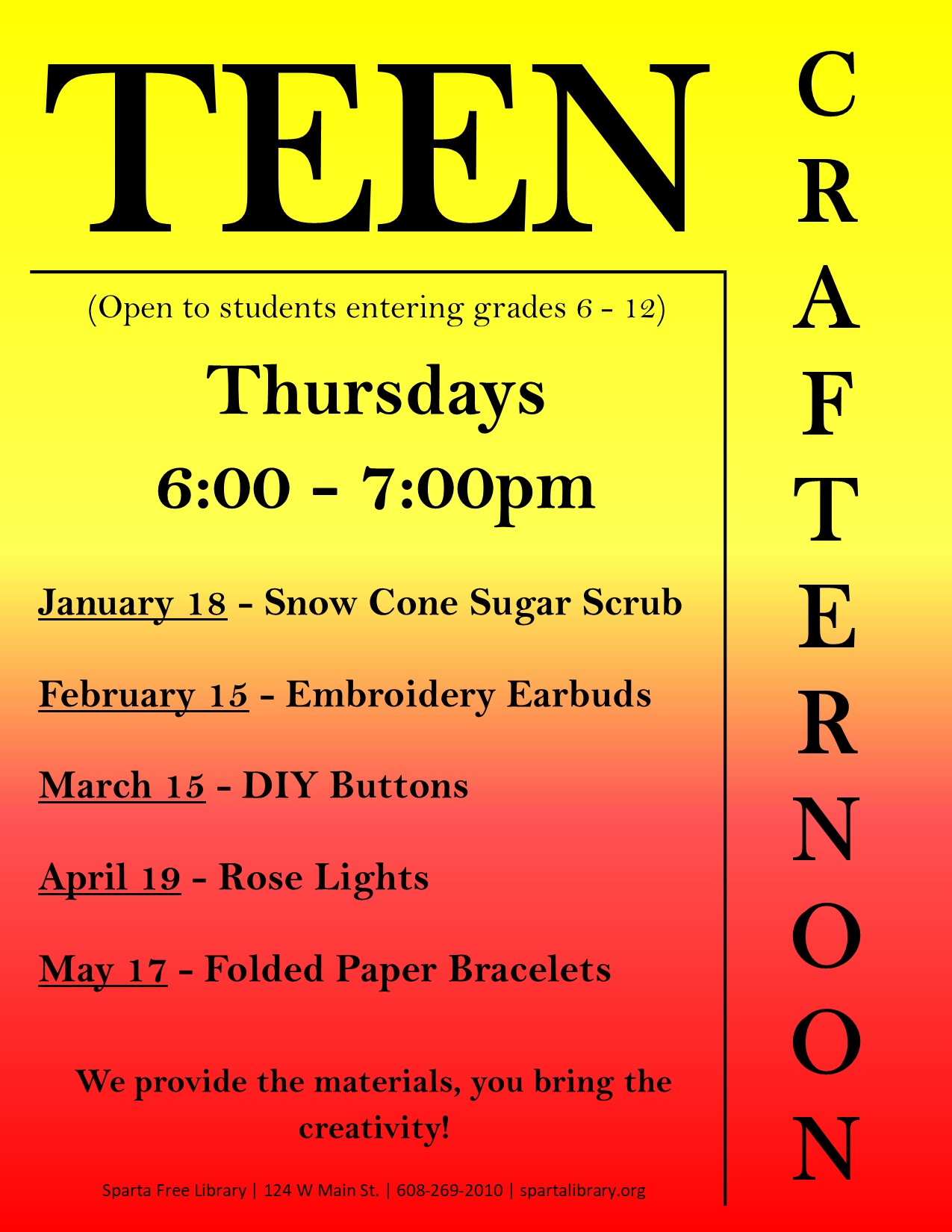 Teen Crafternoon poster Spring 2018