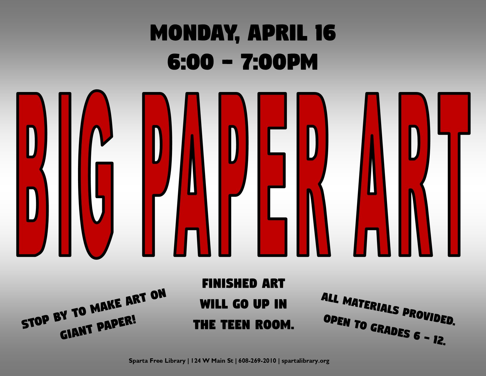 Big Paper Art @ Sparta Free Library | Sparta | Wisconsin | United States