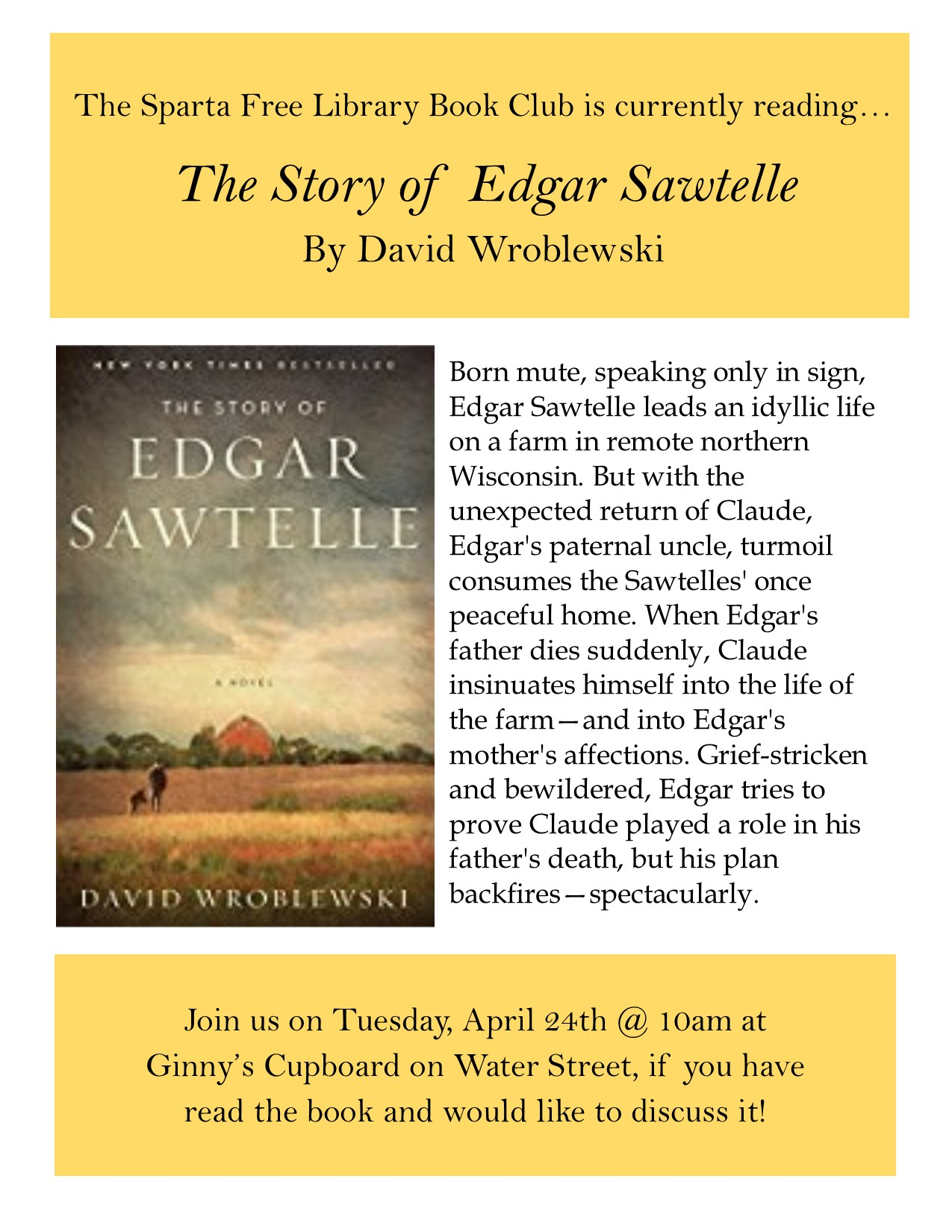Adult Book Club: The Story of Edgar Sawtelle