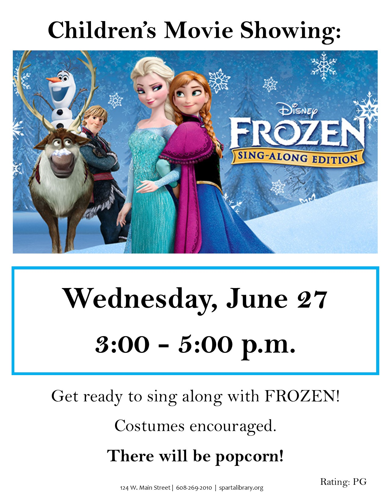 Children's Movie: Frozen Sing-Along @ Sparta Free Library | Sparta | Wisconsin | United States