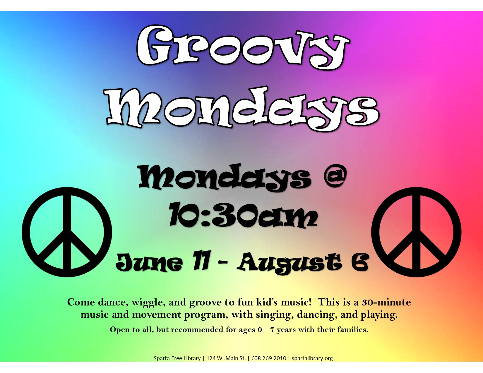 Groovy Mondays @ Sparta Free Library | Sparta | Wisconsin | United States