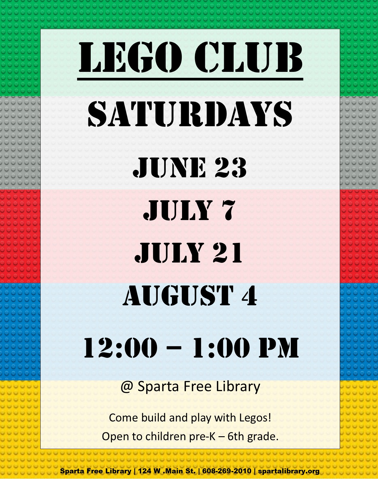 Lego Club - Summer 2018 poster