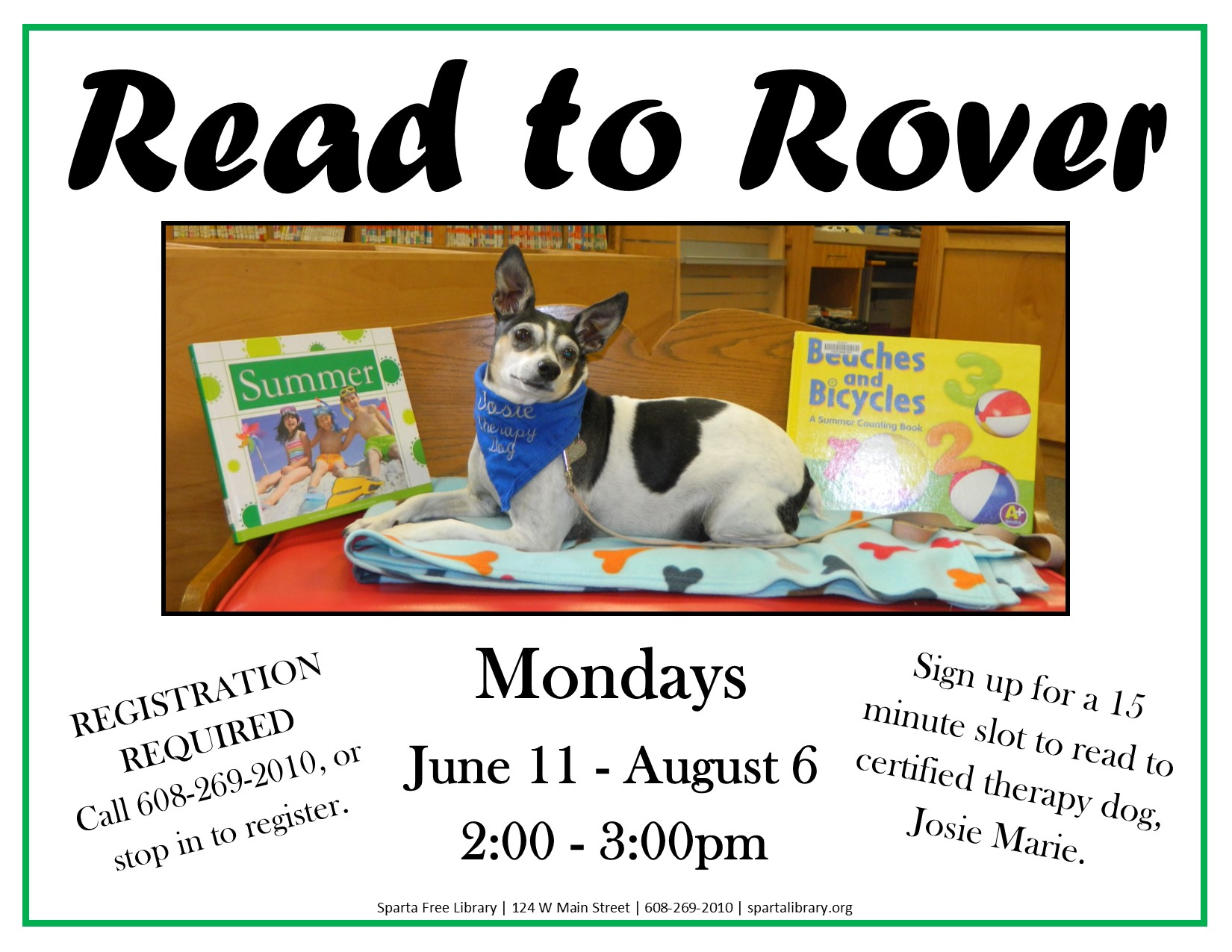 Read to Rover @ Sparta Free Library | Sparta | Wisconsin | United States