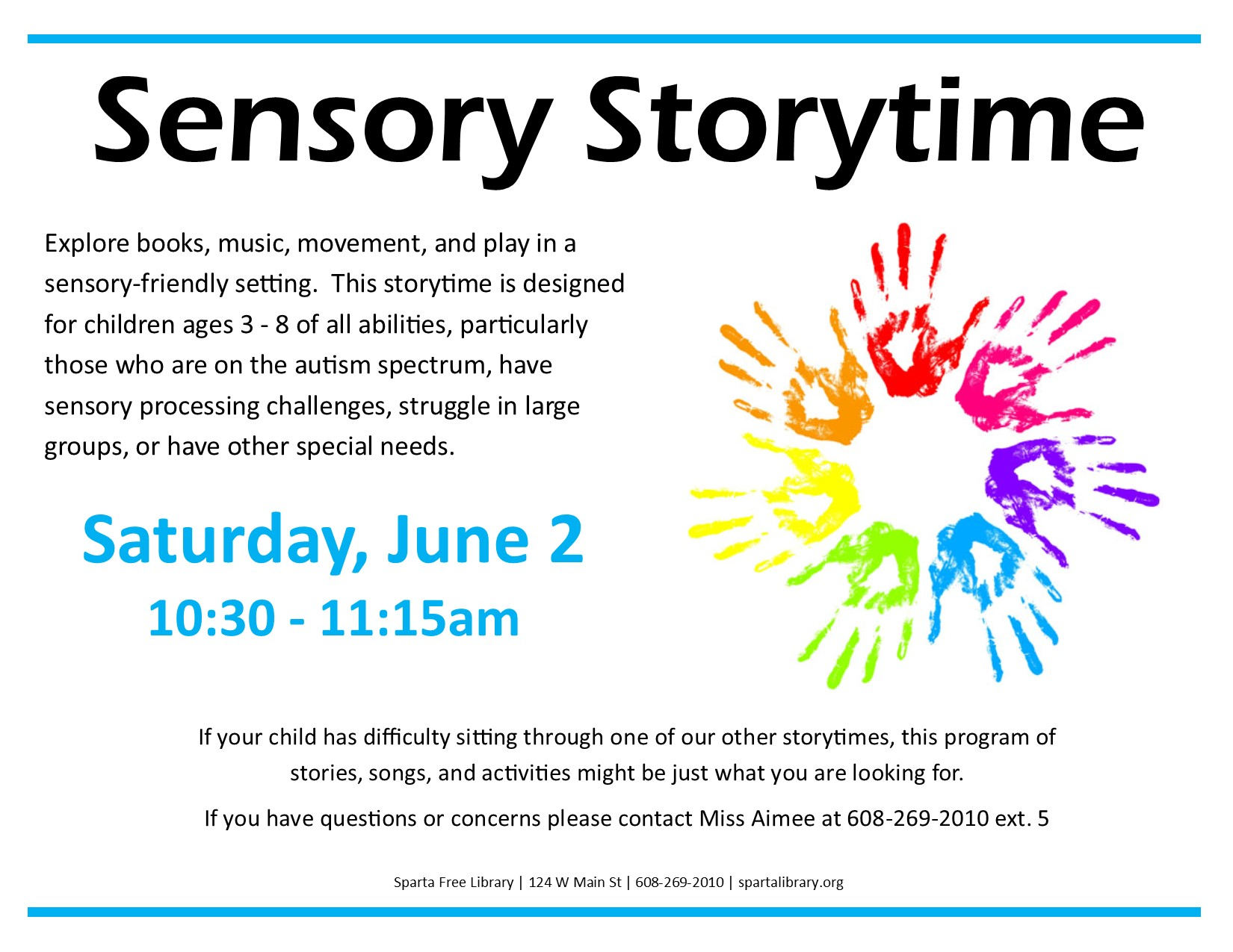 Sensory Storytime @ Sparta Free Library | Sparta | Wisconsin | United States