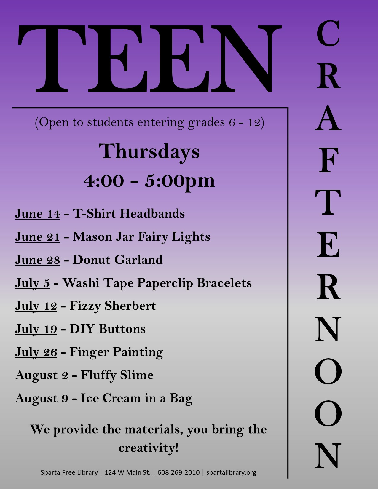 Teen Crafternoon Poster - Summer 2018