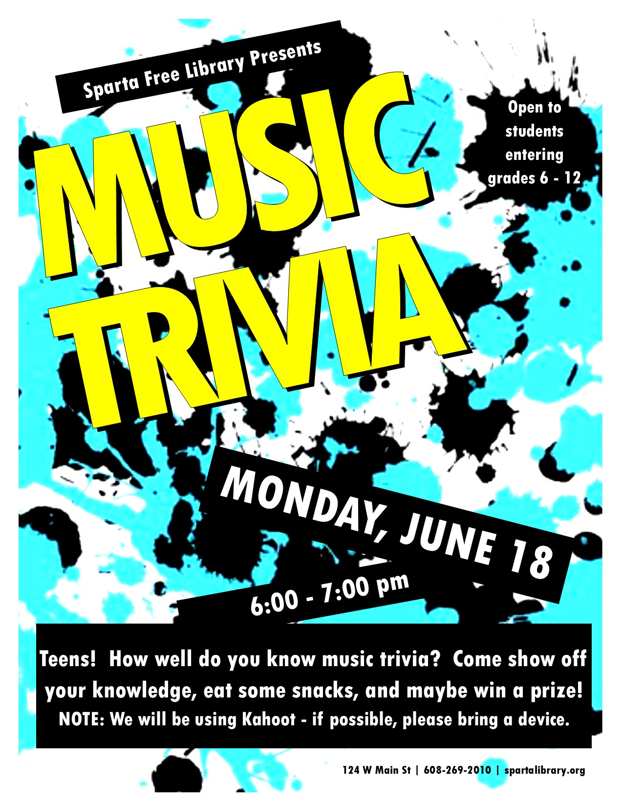 Teen Music Trivia @ Sparta Free Library   Sparta   Wisconsin   United States