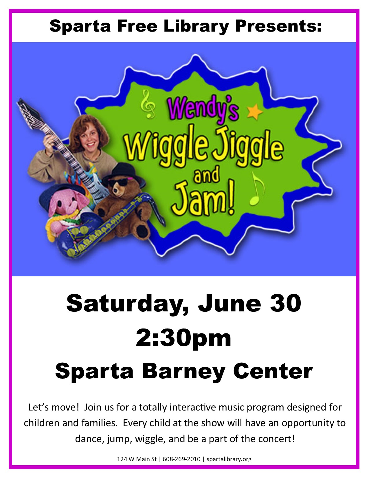 Wendy's Wiggle Jiggle and Jam @ Barney Community Center   Sparta   Wisconsin   United States