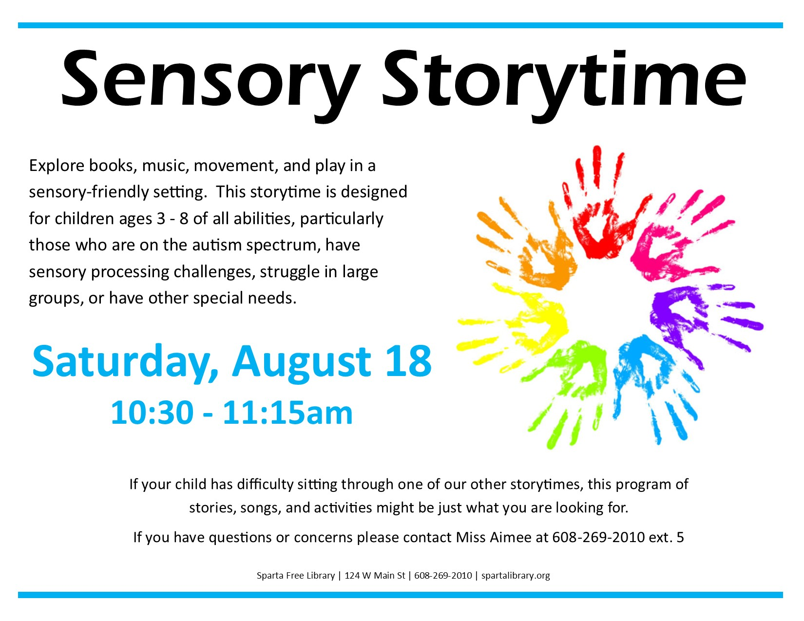 Sensory Storytime Poster - August 2018