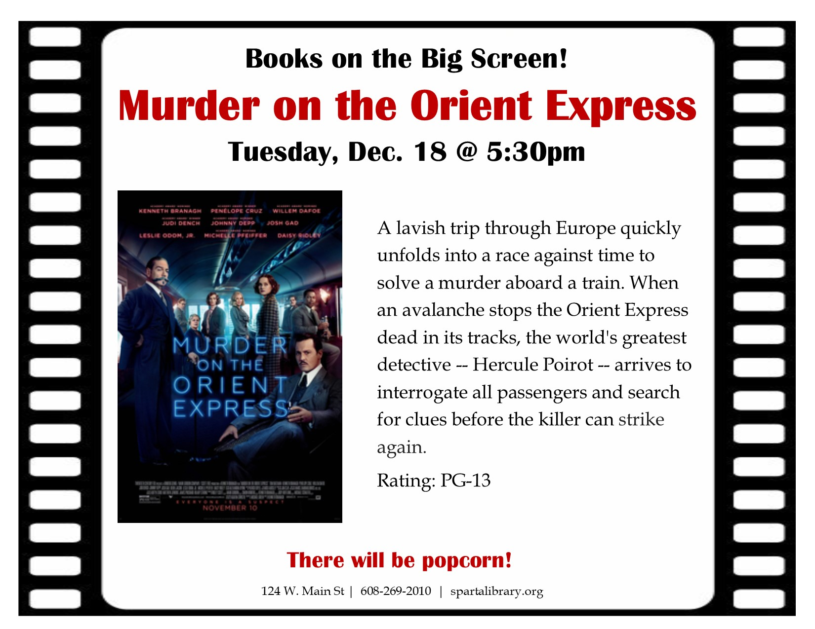Books on the Big Screen: Murder on the Orient Express @ Sparta Free Library | Sparta | Wisconsin | United States