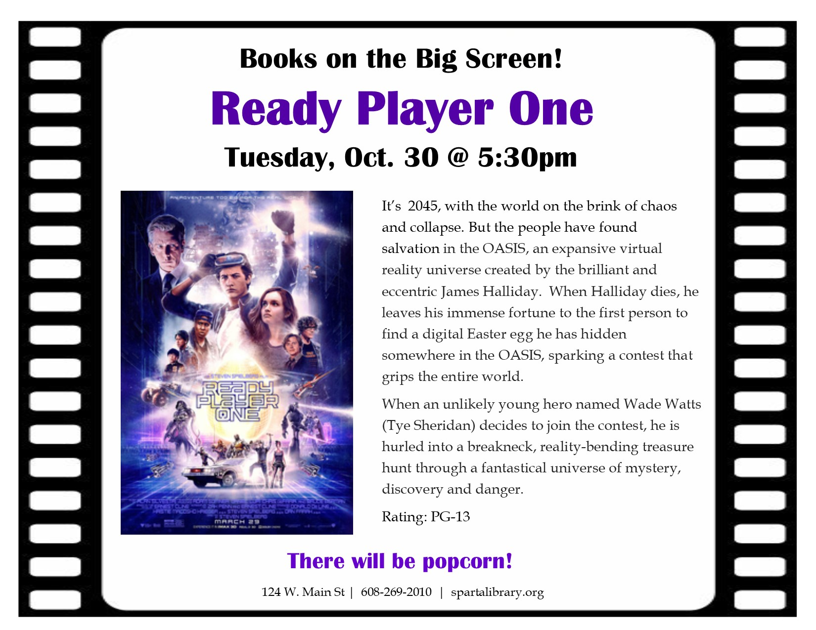 Books on the Big Screen: Ready Player One @ Sparta Free Library | Sparta | Wisconsin | United States