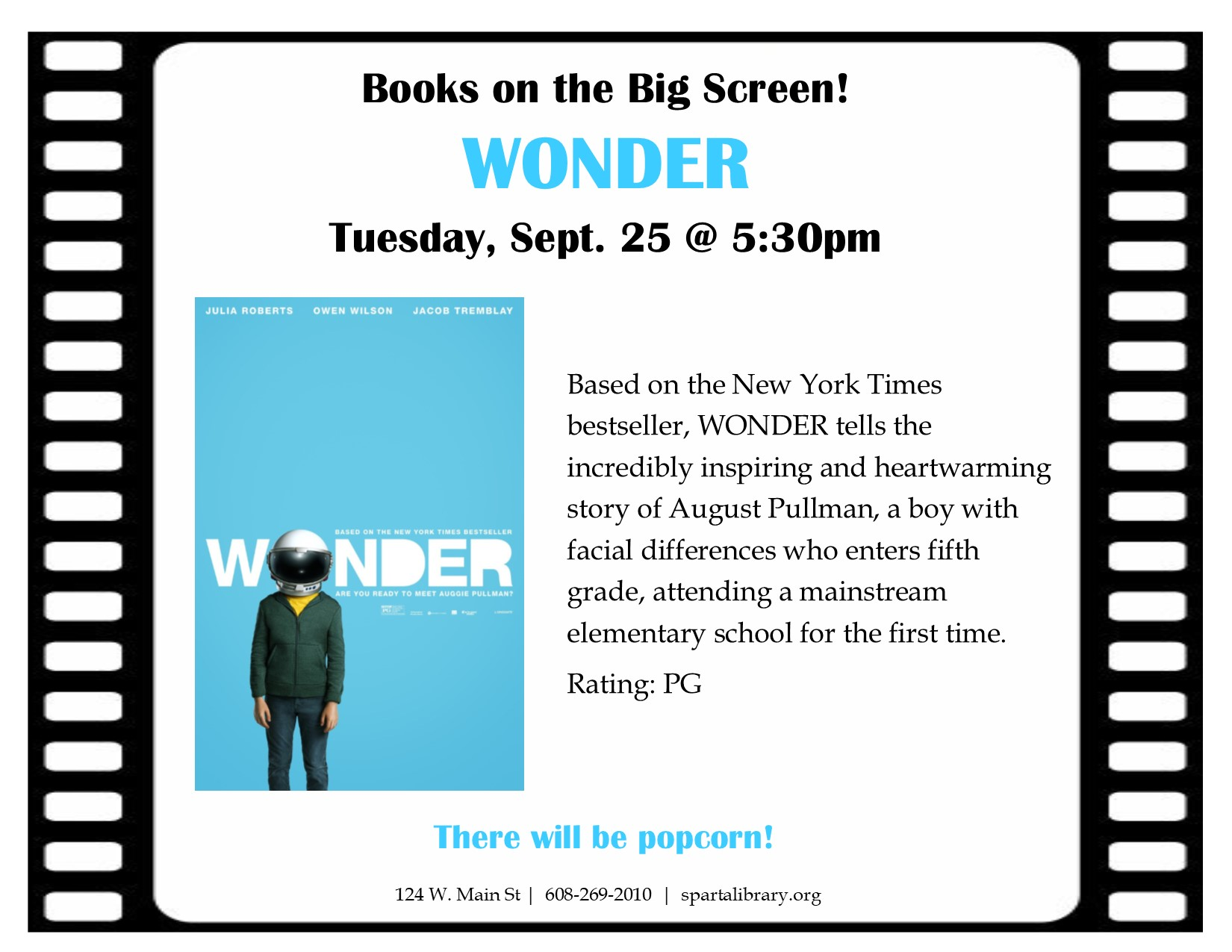 Books on the Big Screen: Wonder @ Sparta Free Library | Sparta | Wisconsin | United States