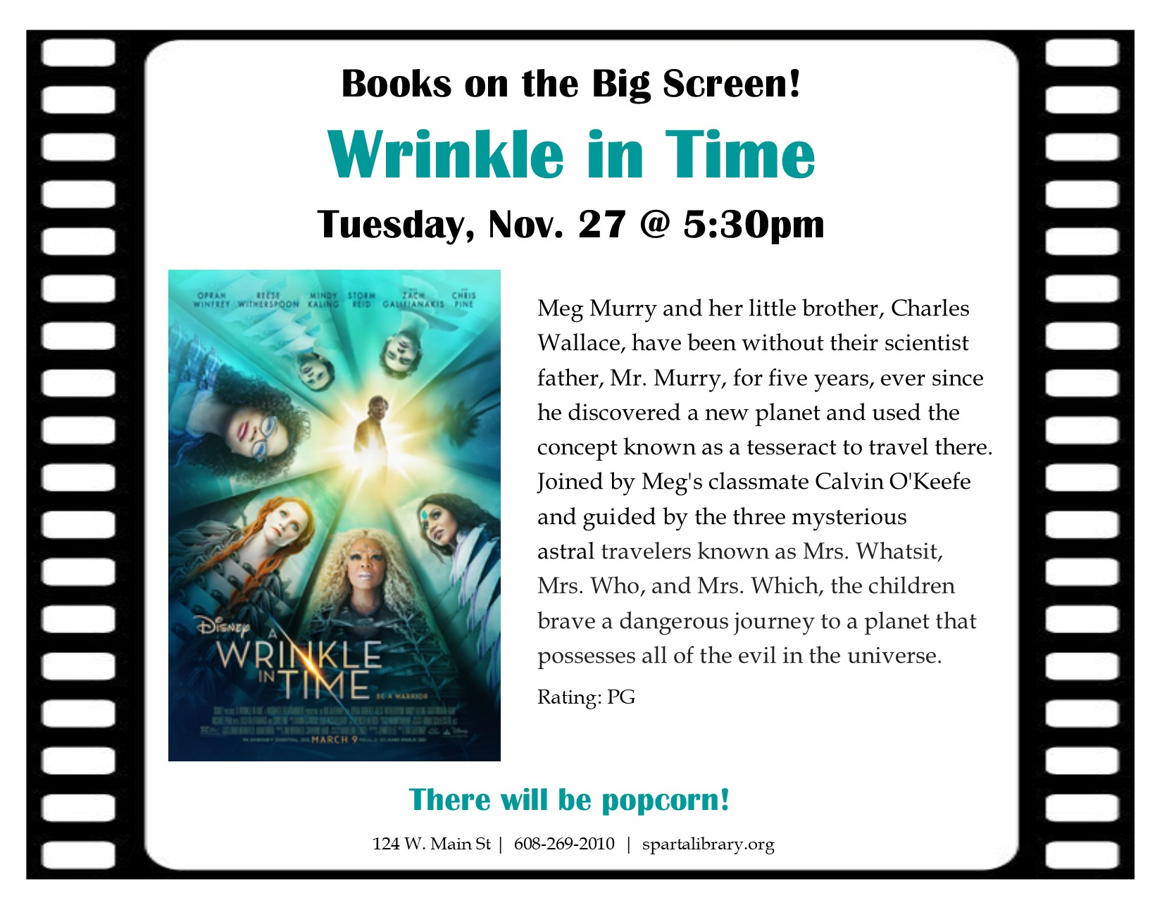 Books on the Big Screen: A Wrinkle in Time @ Sparta Free Library | Sparta | Wisconsin | United States