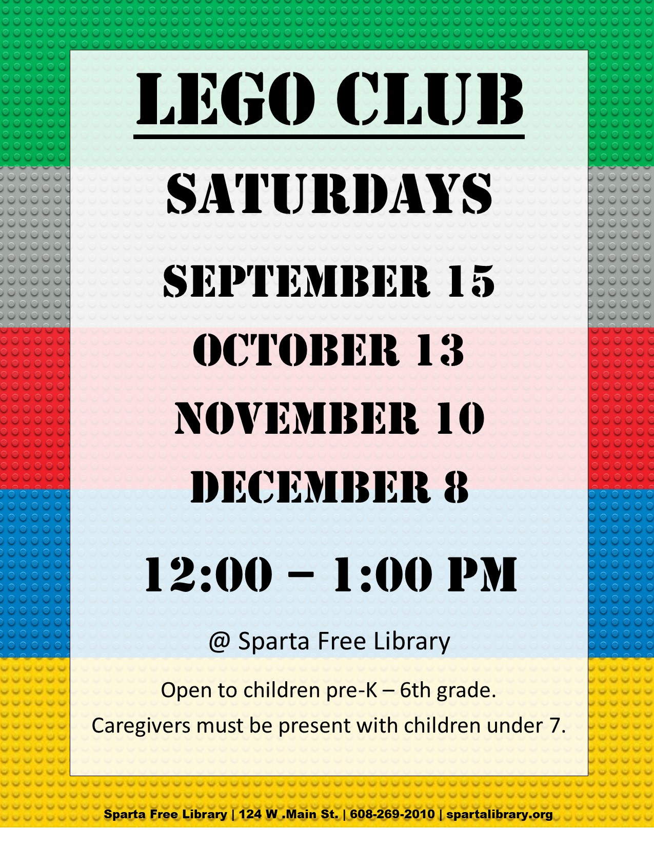 Lego Club Poster - Fall 2018 All Dates
