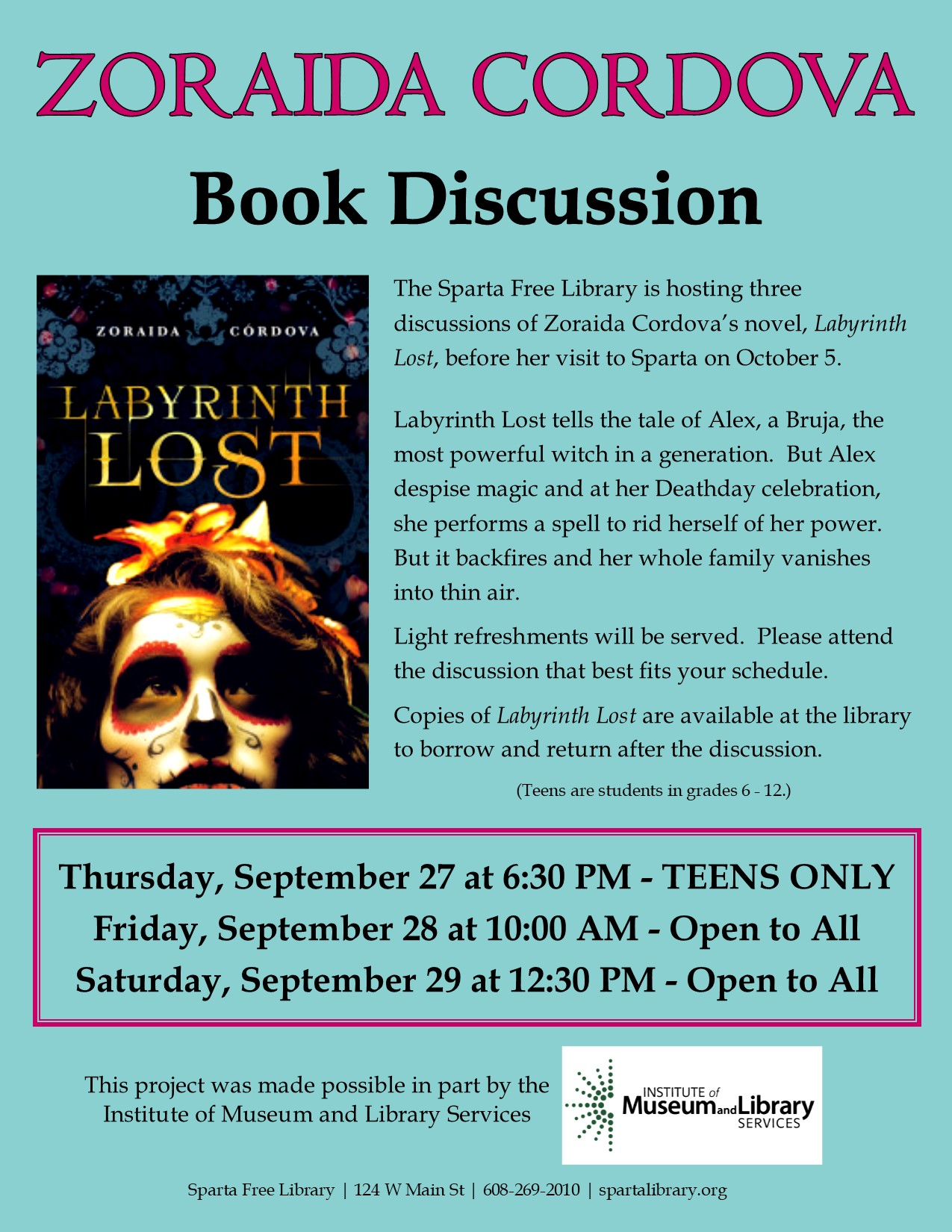 Zoraida Cordova Book Discussion - TEENS ONLY @ Sparta Free Library | Sparta | Wisconsin | United States