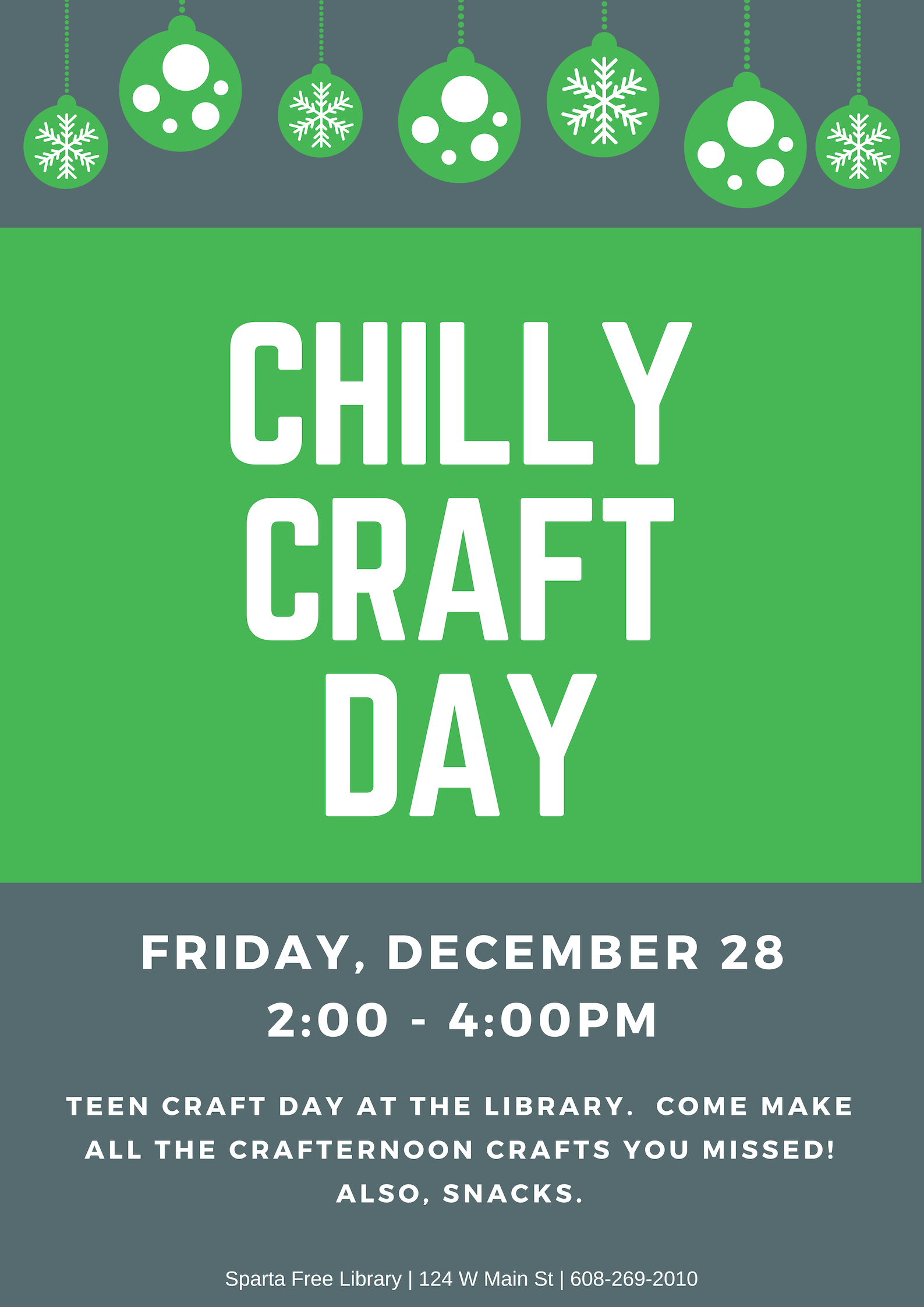 Chilly Craft Day poster 2018