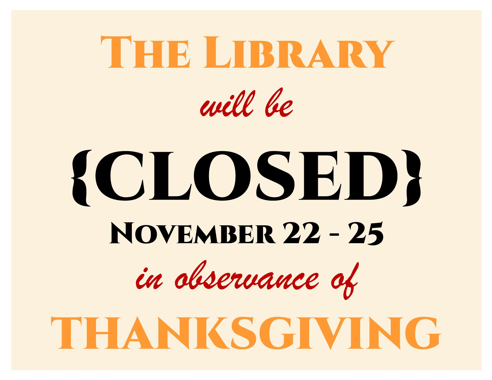 Library Closed for Thanksgiving 2018
