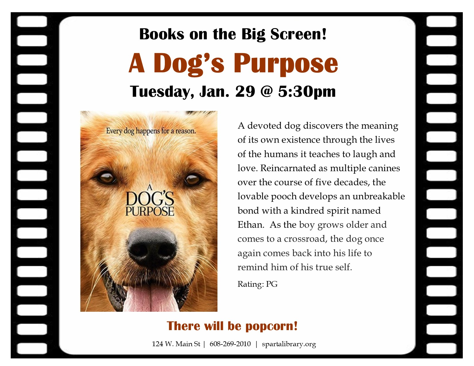 Books on the Big Screen: A Dog's Purpose @ Sparta Free Library