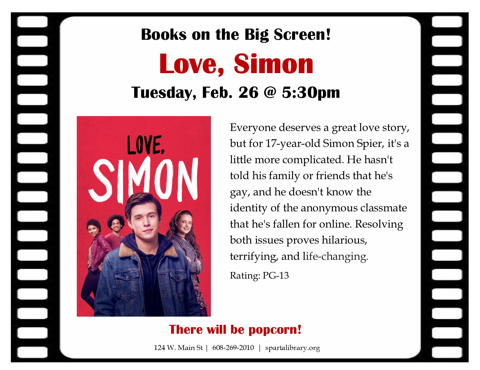 Books on the Big Screen: Love, Simon @ Sparta Free Library