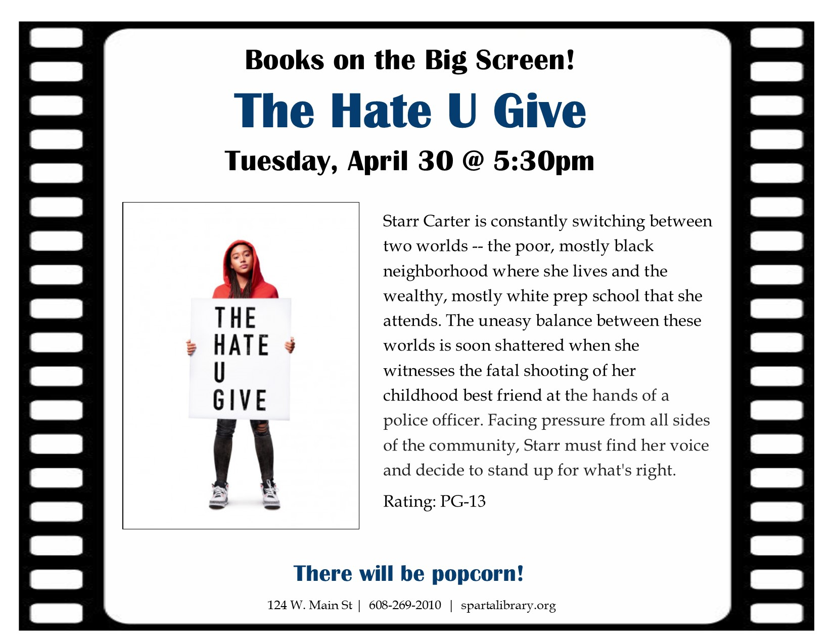 Books on the Big Screen: The Hate U Give @ Sparta Free Library
