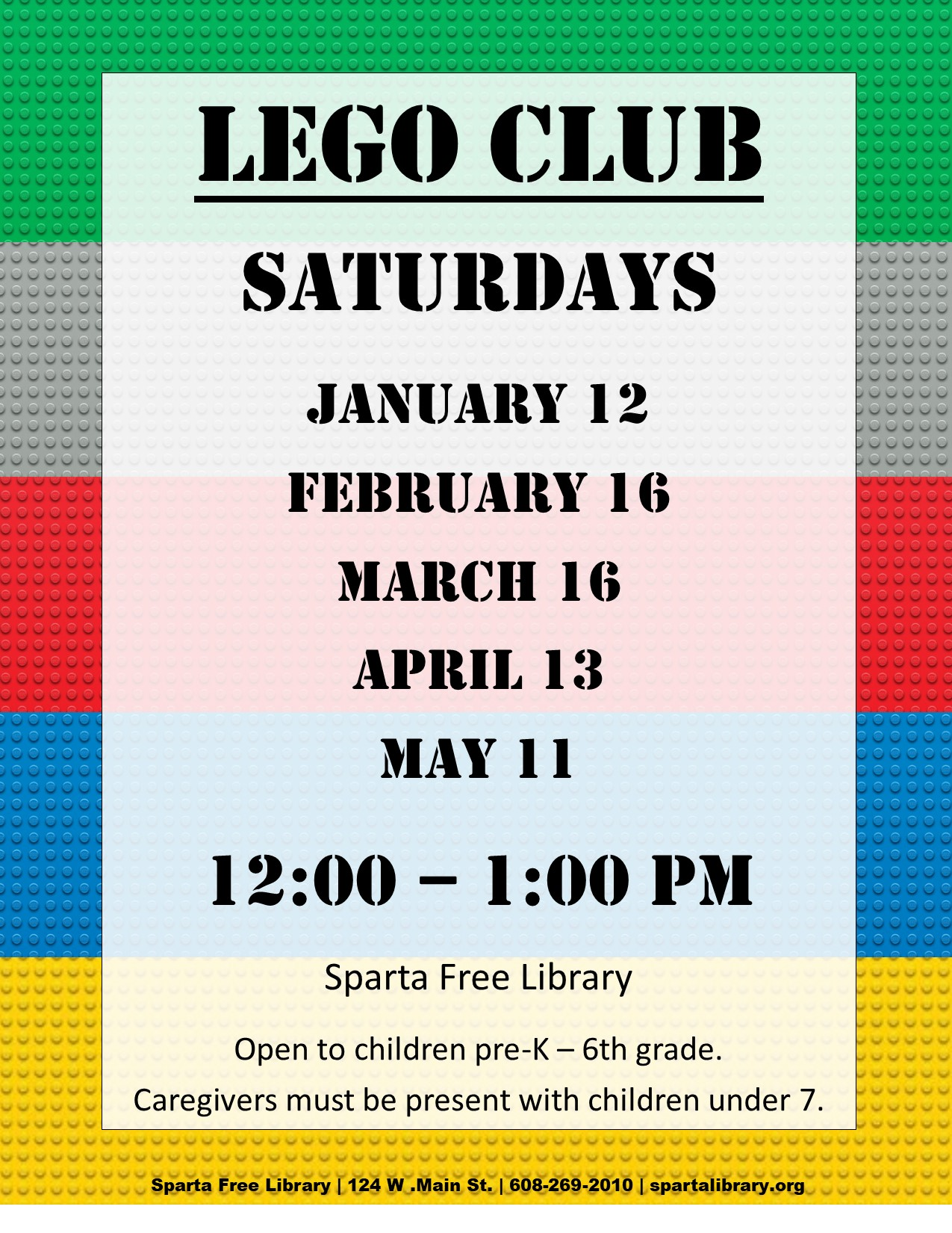 Lego Club Poster - Spring 2019 All Dates
