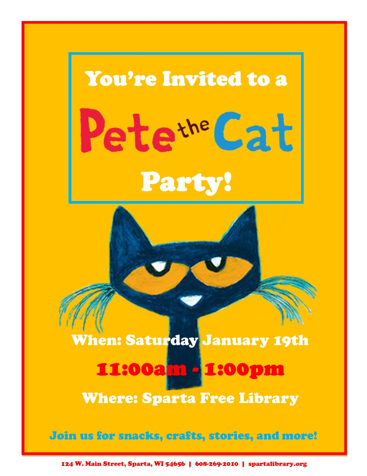 Pete the Cat Party @ Sparta Free Library | Sparta | Wisconsin | United States