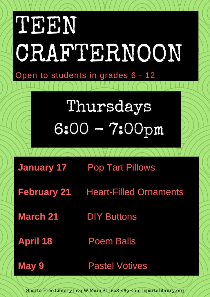 Teen Crafternoon poster - Spring 2019
