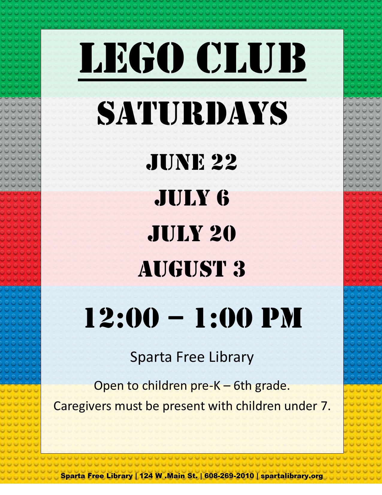 Lego Club Poster - Summer 2019 All Dates