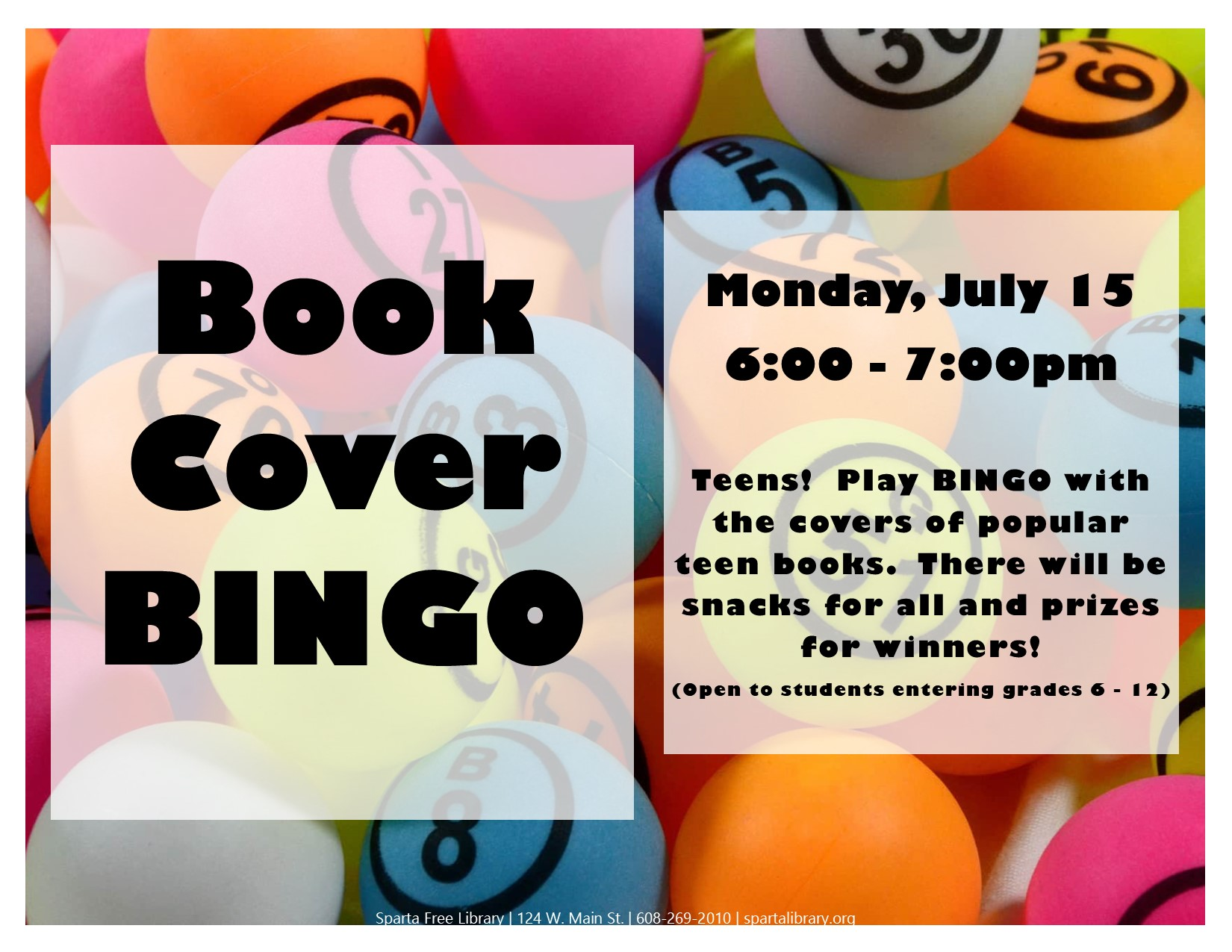 Book Cover Bingo @ Sparta Free Library