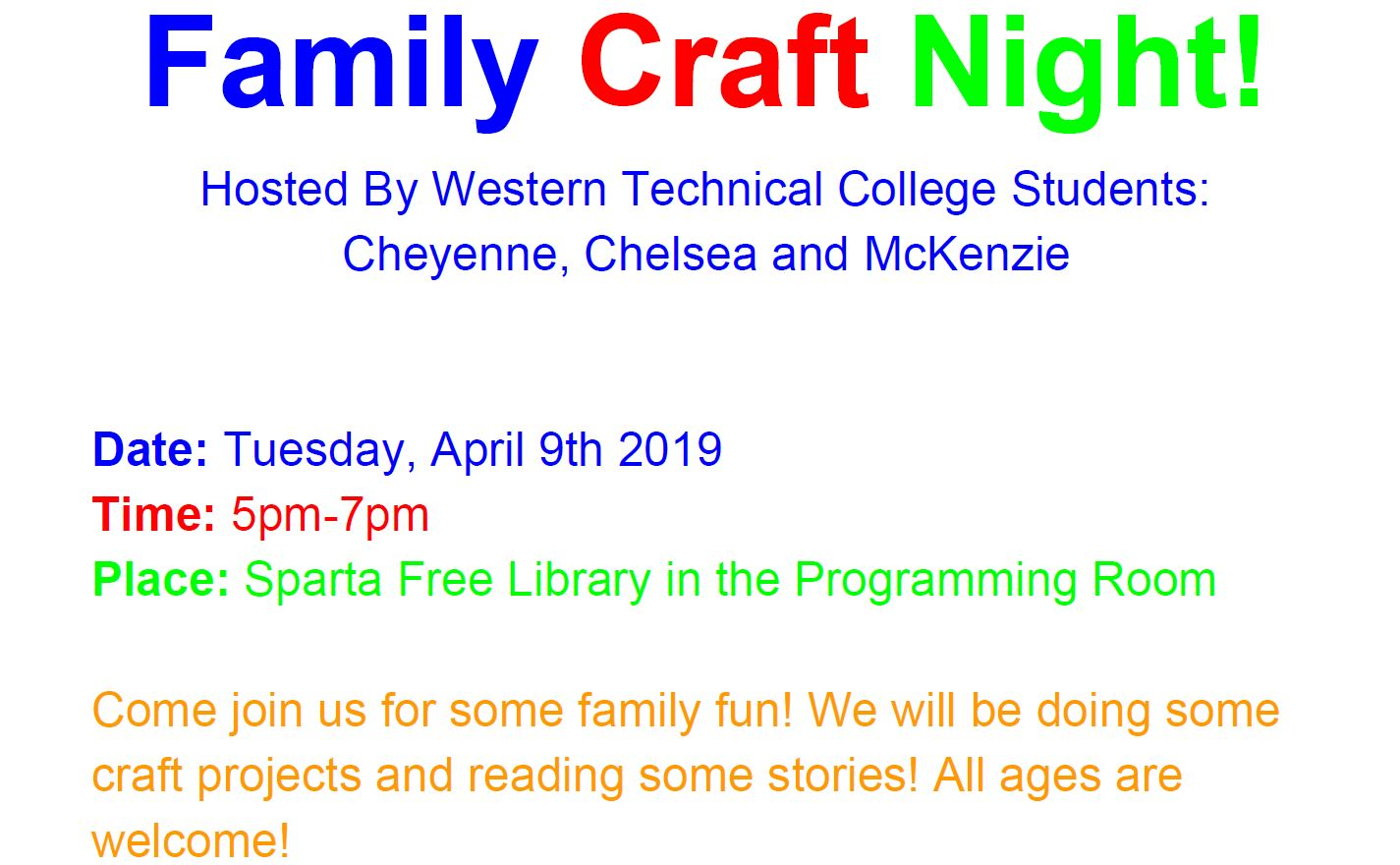 WTC Craft Event @ Sparta Free Library